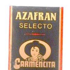 Carteles: ANTIGUA CHAPA DE AZAFRÁN CARMENCITA. Lote 53194084