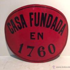 Carteles: CARTEL O CHAPA ESMALTADA OVALADA, CASA FUNDADA EN 1760.. Lote 53241306