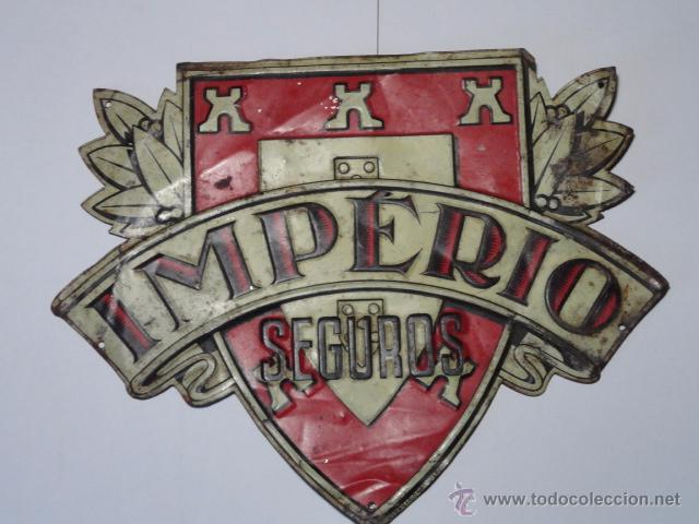 PLACA DE SEGUROS IMPERIO ( INTRERNACIONAL LISBOA) (Coleccionismo - Carteles y Chapas Esmaltadas y Litografiadas)