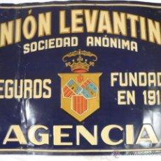 Carteles: CHAPA ESMALTADA SEGUROS UNION LEVANTINA DE G. DE ANDREIS. Lote 54137997
