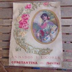 Carteles: CARTEL EN CARTON TROQUELADO ANISADOS Y LICORES CONSTANTINA SEVILLA RELIEVES BASA Y PAGUES BARCELONA. Lote 54341041