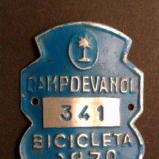 Carteles: CHAPA MATRICULA DE BICICLETA,AÑO 1970 DE CAMPDEVANOL. Lote 54514306