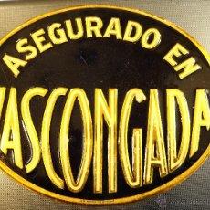 Carteles: CHAPA DE LATA G DE ANDREIS BADALONA, ASEGURADO EN VASCONGADA, SEGUROS 24,50 X 20 CM. Lote 54602157