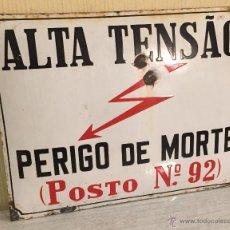Carteles: CHAPA ALTA TENSIÓN METAL ESMALTADO. Lote 54669218