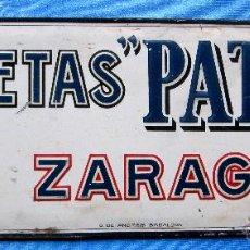 Carteles: CHAPA METALICA GALLETAS PATRIA, ZARAGOZA. FABRICANTE: G. DE ANDREIS, BADALONA.. Lote 54755886