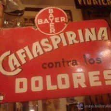 Carteles - Chapa esmaltada original publicidad en ambas caras de Bayer, Cafiaspirina y Tónico Bayer. Farmacia - 54989274