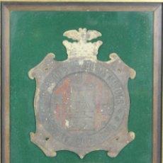 Carteles: SOCIEDAD DE SEGUROS MUTUOS CONTRA INCENDIOS. PLACA ORIGINAL EN METAL. 1923. . Lote 55070233