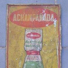 Carteles: CHAPA METALICA ACHAMPAÑADA LA FLOR DE VALENCIA 68X25CM APROX - CON SEÑALES DE EDAD. Lote 56366126