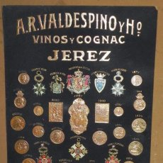 Carteles: CARTEL DE VINO Y COGNAC DE JEREZ, AÑO 1907, MEDALLAS Y PREMIOS DE VALDESPINO, EN PERFECTO ESTADO, F. Lote 56388792