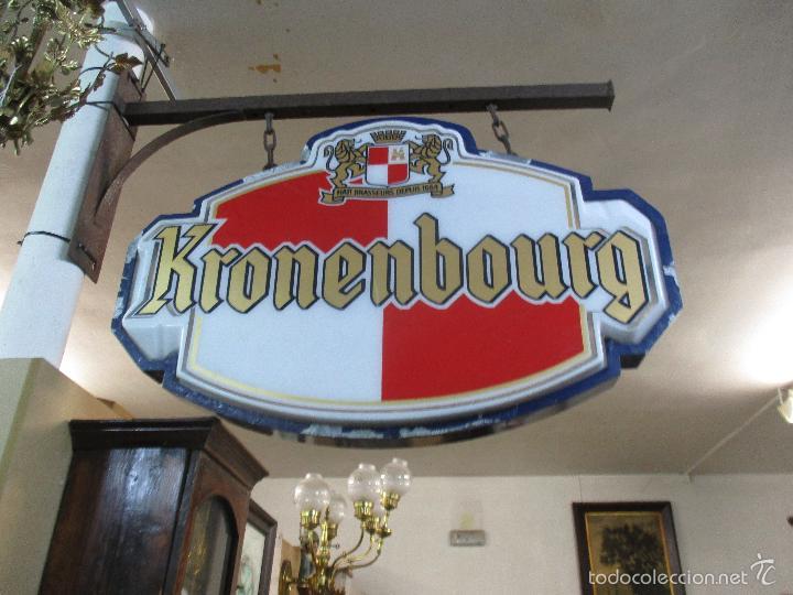 Carteles: Gran Cartel Publicitario antiguo -Cerveza Kronenbourg -cartel luminoso neon -tipo bandera -dos caras - Foto 2 - 56464391