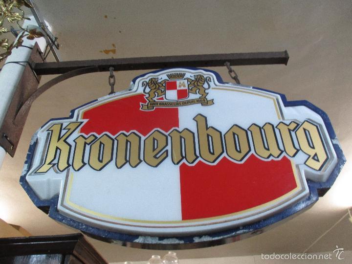 Carteles: Gran Cartel Publicitario antiguo -Cerveza Kronenbourg -cartel luminoso neon -tipo bandera -dos caras - Foto 3 - 56464391