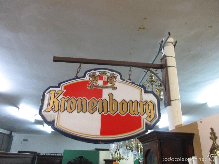Carteles: Gran Cartel Publicitario antiguo -Cerveza Kronenbourg -cartel luminoso neon -tipo bandera -dos caras - Foto 4 - 56464391
