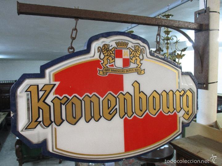 Carteles: Gran Cartel Publicitario antiguo -Cerveza Kronenbourg -cartel luminoso neon -tipo bandera -dos caras - Foto 29 - 56464391