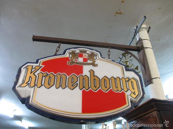 Carteles: Gran Cartel Publicitario antiguo -Cerveza Kronenbourg -cartel luminoso neon -tipo bandera -dos caras - Foto 32 - 56464391