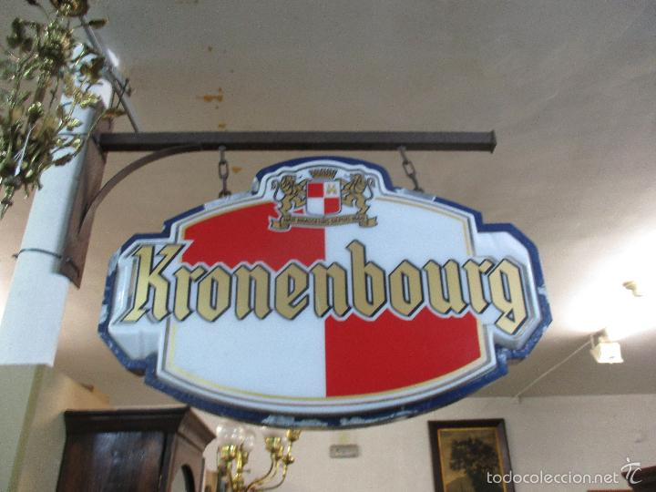 Carteles: Gran Cartel Publicitario antiguo -Cerveza Kronenbourg -cartel luminoso neon -tipo bandera -dos caras - Foto 33 - 56464391