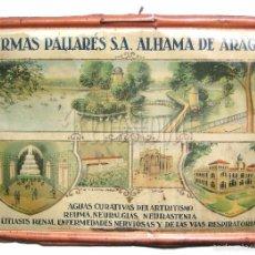 Carteles: CARTEL CHAPA PLACA PUBLICIDAD TERMAS PALLARES S.A. ALHAMA DE ARAGON ZARAGOZA G.DE ANDREIS AÑOS 30. Lote 57044968