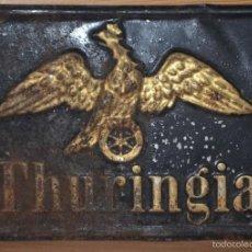 Carteles: MUY ANTIGUA CHAPA PLACA DE SEGUROS THURINGIA DE ALEMANIA SIGLO XIX SOBRE AÑO 1890. Lote 57814333