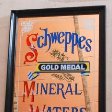 Carteles: CUADRO ESPEJO DE SCHWEPPES - GOLD MEDAL MINERAL WATERS. Lote 58136722