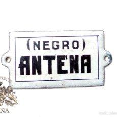 Carteles: CHAPA DE PORCELANA NEGRO ANTENA 6 X 2,8 CM. Lote 59863488