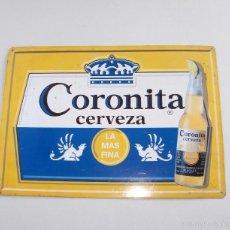 Carteles: CARTEL CHAPA ROTULO PUBLICIDAD CERVEZA CORONITA. Lote 60435731