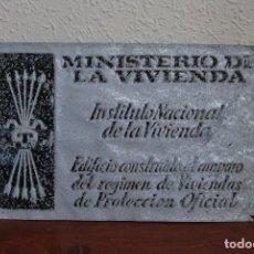 Affiches: ANTIGUA CHAPA DE ALUMINIO - MINISTERIO DE LA VIVIENDA - AÑOS 50 - FALANGE. Lote 140214817