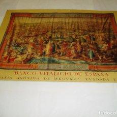 Carteles: ALMANAQUE DEL BANCO VITALICIO DE ESPAÑA. LITOGRAFIA DE LA TOMA DE TUNEZ.EL SAQUEO DE TUNEZ. Lote 63375248