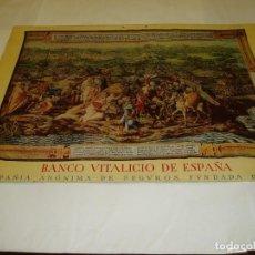 Carteles: ALMANAQUE DEL BANCO VITALICIO DE ESPAÑA. LITOGRAFIA . LA CONQUISTA DE TUNEZ DE LA TOMA DE TUNEZ. Lote 63375804