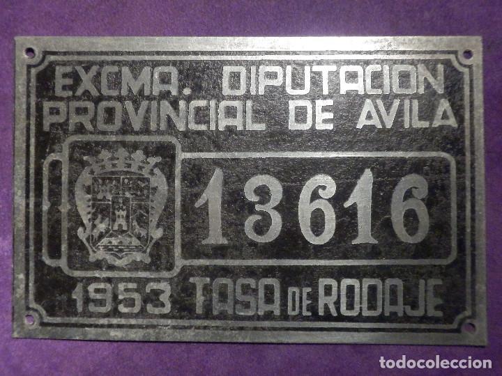 MATRICULA - ARBITRIO DE RODAJE CICLOMOTOR - MOTOCICLETA - 13616 - AVILA - 1953 - (Coleccionismo - Carteles y Chapas Esmaltadas y Litografiadas)
