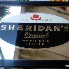 Carteles: SHERIDAN'S DOUBLE IRISH LIQUEUR ANUNCIO SOBRE ESPEJO ENMARCADO , RARO,39X31 CMS. Lote 67829801