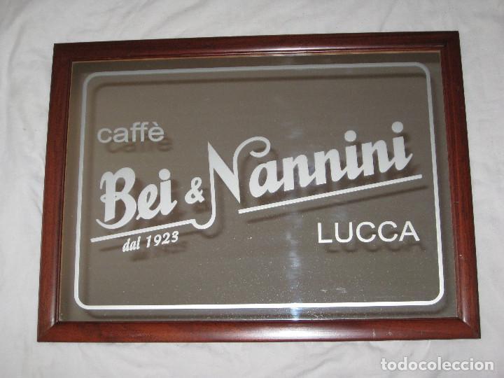 CUADRO ESPEJO CAFÉ BEI & NANNINI (Coleccionismo - Carteles y Chapas Esmaltadas y Litografiadas)