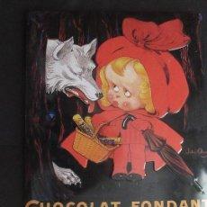 Cartazes: ANTIGUA PLACA DE CHOCOLAT FONDANT GRANDE 40 X 30 CTROS.. Lote 69658741