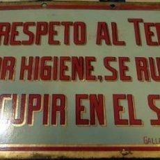 Carteles: CHAPA ORIGINAL NO ESCUPIR EN EL SUELO EN EL TEMPLO,ESMALTADA,LIT.GALLARDO Y NUÑEZ, SEVILLA,345X175MM. Lote 142663966