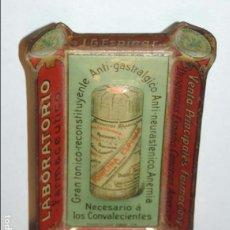 Carteles: BANDEJITA DE HOJALATA LITOGRAFIADA FARMACIA AÑOS 20, CON PUBLICIDAD DE J. G. ESPINAR, TONICO RECONST. Lote 75247091