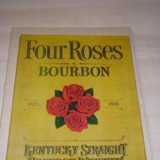 Carteles: CHAPA LITOGRAFIADA FOUR ROSES - BOURBON, FINALES DE LOS 70. Lote 75434603