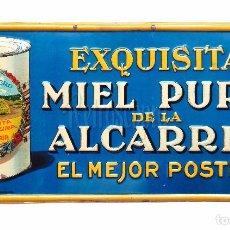 Carteles: CHAPA PLACA EN RELIEVE PUBLICIDAD MIEL DE LA ALCARRIA EL ROMERO. G. DE ANDREIS. AÑOS 40. Lote 76945185