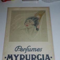 Carteles: CARTEL PERFUMES MYRURGIA , ILUSTRADO POR JENER 47 X 31 CM, SEÑALES DE USO. Lote 77178401