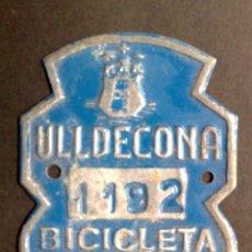 Carteles: CHAPA MATRICULA BICICLETA,AÑO 1961 DE ULLDECONA (5,5CMS X 4,5CMS). Lote 77422337