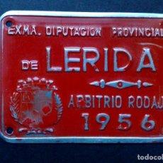 Carteles: CHAPA MATRICULA ARBITRIO RODAJE,AÑO 1956 DE LERIDA (7CMS X 5CMS). Lote 77423037