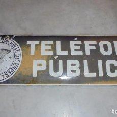 Carteles: (M) ANTIGUA CHAPA ESMALTADA - TELEFONO PUBLICO , COMPAÑIA TELEFONICA NACIONAL DE ESPAÑA 47X14,5 CM. . Lote 83299412