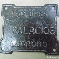 """Carteles: PUBLICIDAD """"SOMMIERS B. PALACIOS"""". FABRICANTE DE SOMIERES BENITO PALACIOS, LOGROÑO, LA RIOJA. CHAPA.. Lote 83579468"""
