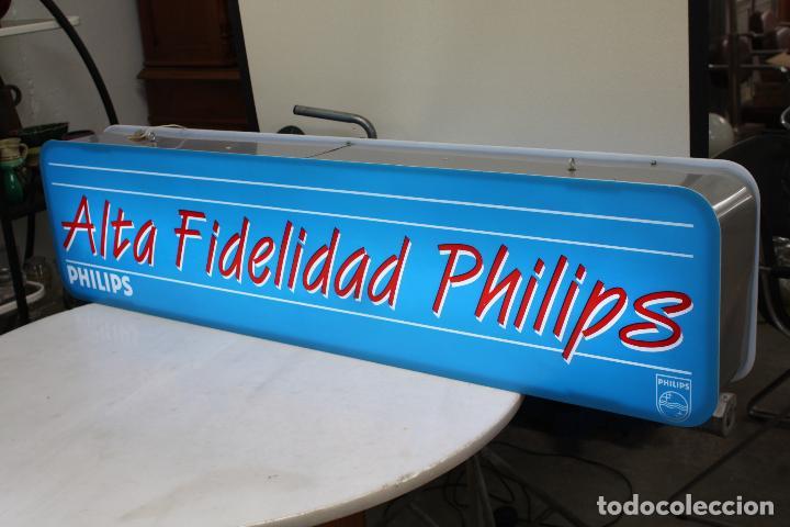 Carteles: LUMINOSO PUBLICIDAD -ALTA FIDELIDAD PHILIPS- MEDIDAS: 125.7 X 30. FUNCIONANDO. - Foto 2 - 85069416