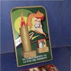 Carteles: MADERA - PORTAVELAS SERIGRAFIADO DE LA SERIE DON QUIJOTE DE LA MANCHA (1979) + 21 CAJAS DE CERILLAS. Lote 85498508