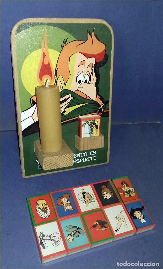 Carteles: MADERA - PORTAVELAS SERIGRAFIADO DE LA SERIE DON QUIJOTE DE LA MANCHA (1979) + 21 CAJAS DE CERILLAS - Foto 2 - 85498508