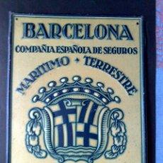 Carteles: PLACA LITOGRAFIADA-COMP. ESPAÑOLA DE SEGUROS BARCELONA-INCENDIOS-MARITIMO-TERRESTRE (23CMS. X 17CMS). Lote 87130516