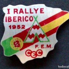 Carteles: ANTIGUA INSIGNIA DEL PRIMER RALLYE IBERICO,AÑO 1952,F.E.M.-CEC (DESCRIPCIÓN). Lote 87710076