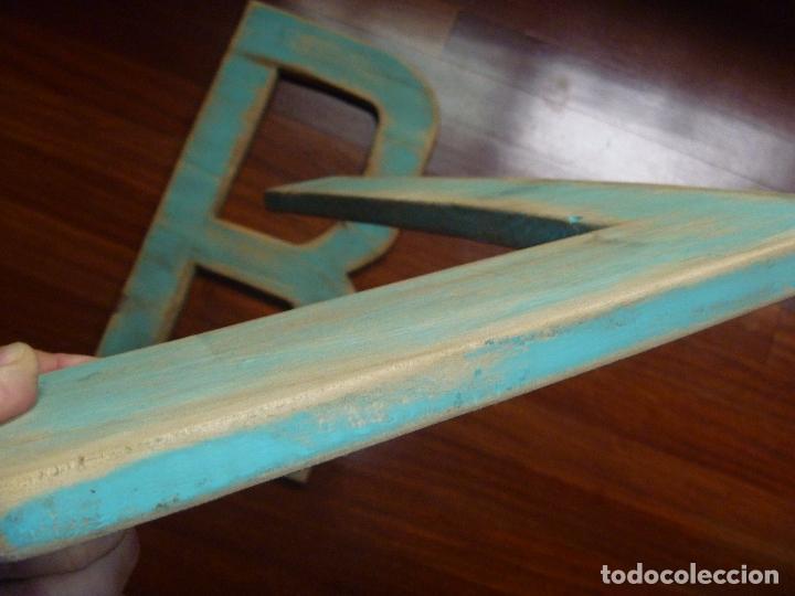 Carteles: Letra L y letra R madera gran tamaño color verde musgo - Foto 2 - 89509684