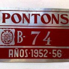 Carteles: CHAPA MATRICULA RODAJE AGRICOLA B-74,AÑOS 1952-56 DE PONTONS (15CMS. X 10CMS.). Lote 89780168
