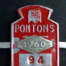 Carteles: CHAPA MATRICULA BICICLETA Nº94,AÑO 1960 DE PONTONS (6,5 CMS. X 4,2 CMS.) DESCRIPCIÓN. Lote 90645885