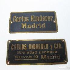 Carteles: DOS CHAPAS DEL REPRESENTANTE DE KRUPP Y FERROCARRILES CARLOS HINDERER. Lote 90956930