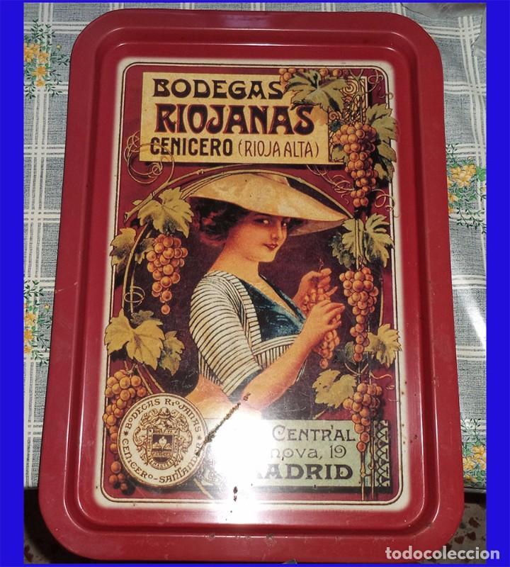 ANTIGUA BANDEJA DE METAL PROPAGANDA BODEGAS RIOJANAS CENICERO MIDE 49,5/34,5 CM. (Coleccionismo - Carteles y Chapas Esmaltadas y Litografiadas)